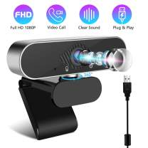 1080P Webcam, Webcam with Microphone, USB Computer Camera for Teaching Game Streaming, Widescreen Laptop Desktop Web Camera for Video Calling and Recording