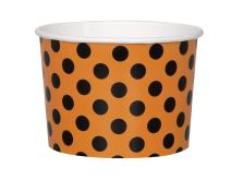 9oz Orange & Black Polka Dot Halloween Paper Ice Cream Cups, 8ct