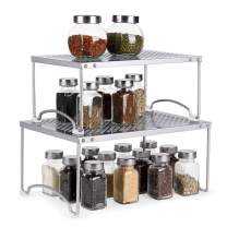 Kitchen Cabinet and Counter Shelf Organizer, Storage Rack Spice Rack, Silver