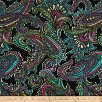 Baum Textiles Winterfleece Radiant Paisley Black Fabric By The Yard, Black