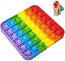 Fidget Toy Set, Fidget Pack Cheap Pop It Fidget Toy Push Pop Bubble Sensory Fidget Toys, Simple Dimple Fidget Toy for Kids or Adults, Fidget Box with Stress Balls Toys (One Pcs Square Rainbow)