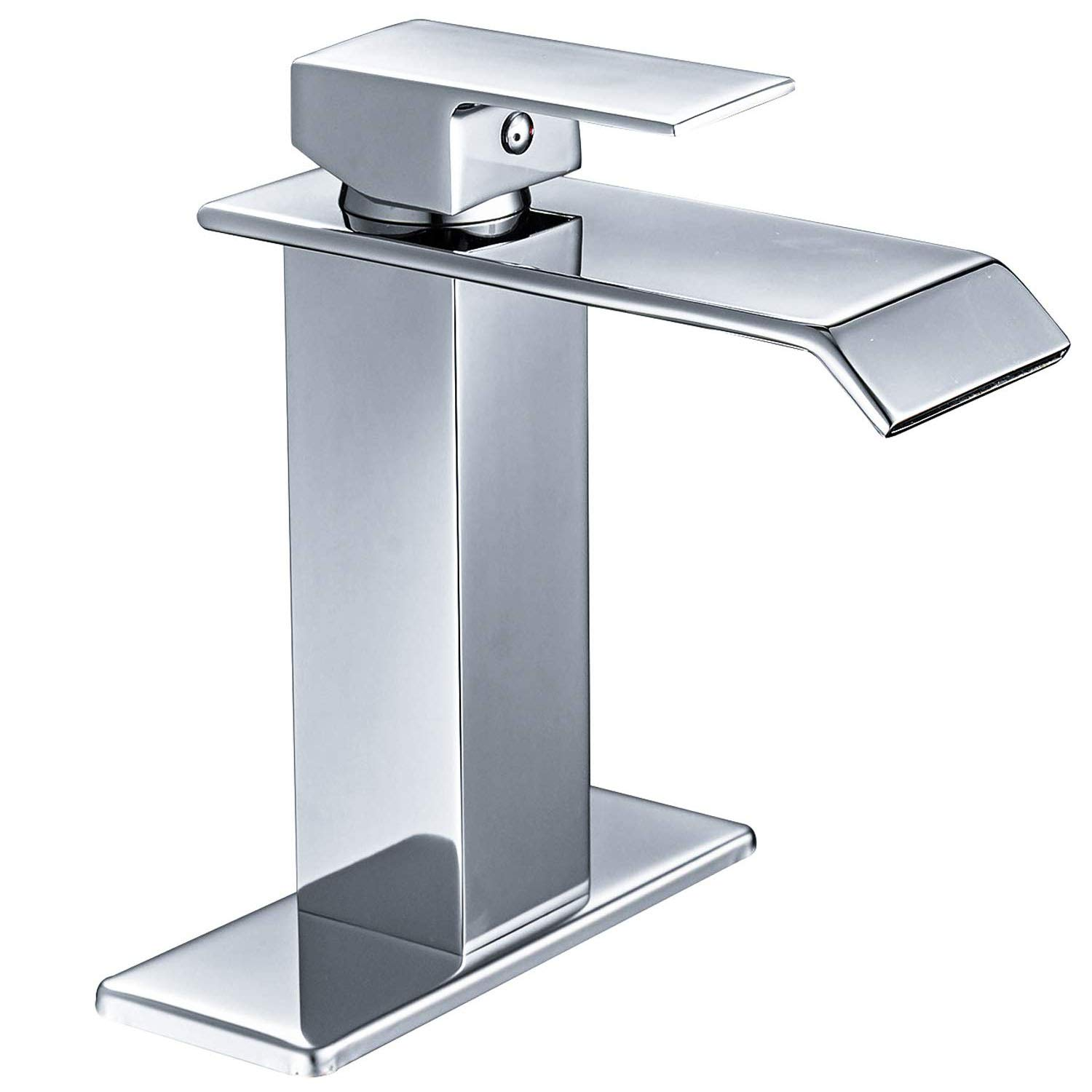 Homevacious Bathroom Faucet Waterfall Chrome Single Handle Modern Lavatory Sink Vanity Faucets One Hole Lever Extra Large Rectangular Spout Basin Deck Mount Mixer Tap Supply Hose Lead-Free