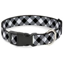 Buckle-Down Dog Collar Plastic Clip Diagonal Buffalo Plaid Black White Available in Adjustable Sizes for Small Medium Large Dogs