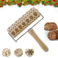 Embossed Rolling Pins Hand-held Christmas 3D Wooden Hand Grip Engraved Rolling Pin For Cookies With Christmas tree Pattern for Baking For Kids and Adults