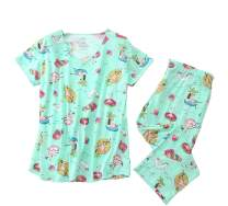Aoymay Women's Pajama Sets Short Tops with Capri Pants Cotton Sleepwear Ladies Sleep Sets