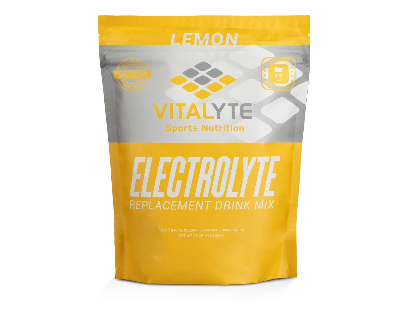 Vitalyte Natural Electrolyte Powder Drink Mix, Gluten Free, 40 2 Cup Servings Per Container (LEMON-2PACK)