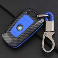 ontto Key Fob Cover Carbon Fiber Texture Car Key Shell Silicone case with Keychain Remote Key Protector Fit for BMW 1 3 5 7 Series X3 X4 X5 X6 (Blue) …