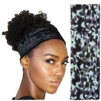 Women's Fashion Headband for Natural, Curly Hair | No-Slip, 3-Snap, Adjustable, Washable, Turban Headwrap (Army Green Camo)