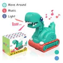 Lehoo Castle Dinosaur Toys for Toddlers, Dinosaur Car Toys with Light and Music, Dino Trucks Excavator Toy Truck for Toddler 1-3 Year Old, Dinosaur Vehicle Toys Educational Toys (Green)