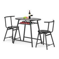 Vantic 3 Piece Dining Table Set for 2 - Wooden Small Kitchen Table and Chairs Durable Modern Dining Room Set with Metal Frames and Shelf Storage…