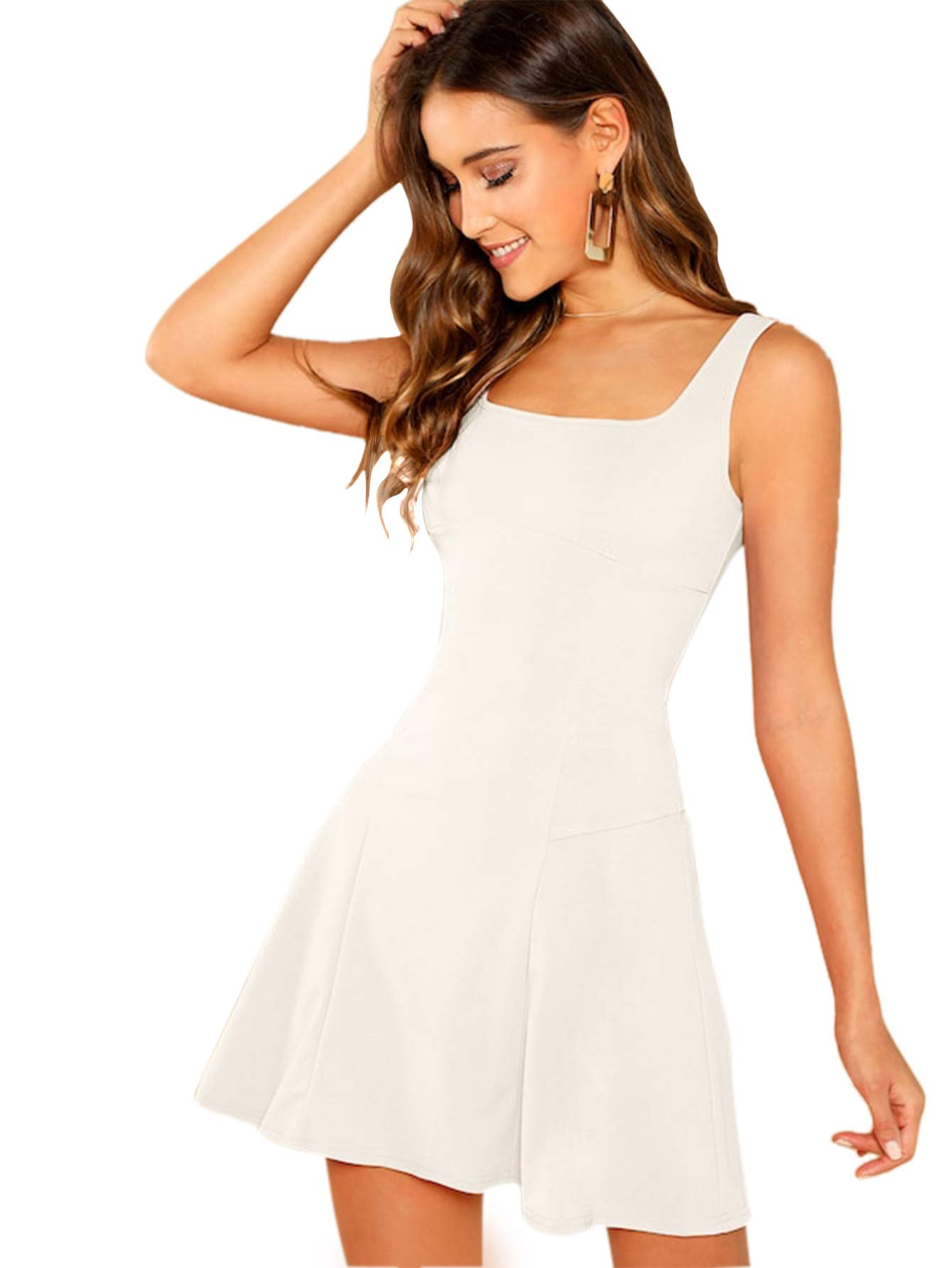 Romwe Women's Sleeveless Zipper A Line Party Mini Bodycon Dress