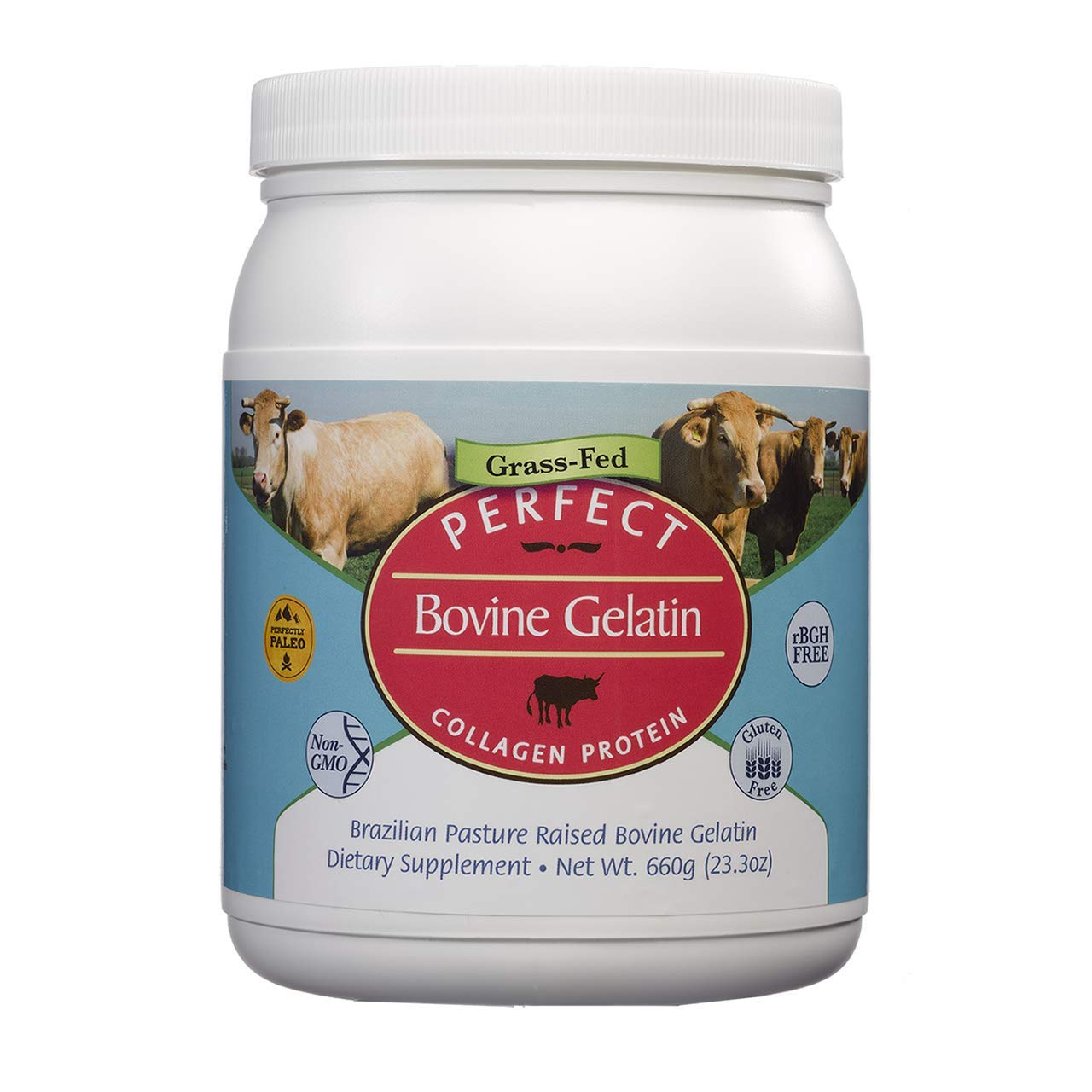 Perfect Bovine Gelatin 100% Grass Fed Pure Beef Gelatin (Cooked Collagen) Powder, Brazilian Pasture Raised ~ Large 23.3oz. 60 Serving Container~ No Fillers, GMOs or Pesticides