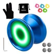 MAGICYOYO Y02-Aurora Light Up Professional Unresponsive Yoyo Blue with Led Lights with Yoyo Glove, Yoyo Bag, 5 Strings, Green LED Light