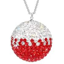 SAVORI Car Rear View Mirror Ornament Hanging Lucky Ball Christmas Crystal Pendant Bling Car Accessories for Women Rhinestone Charm Auto Decoration (Red White)