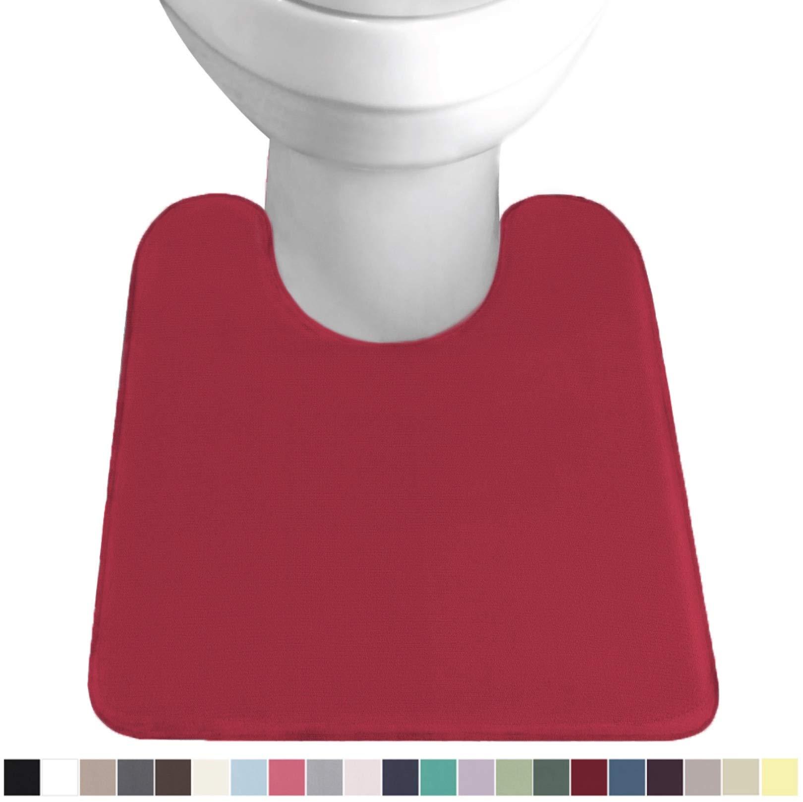 Gorilla Grip Original Thick Memory Foam Contour Toilet Bath Rug 22.5x19.5, U Shape, Cushioned, Soft Floor Mats, Absorbent Cozy Bathroom Rugs, Machine Wash and Dry, Plush Bath Room Carpet, Red