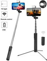 BGJOY Selfie Stick Extendable Selfie Stick Tripod with Bluetooth Detachable Wireless Remote Tripod Stand Selfie Stick Fill Light Compatible with iPhone 11 Pro Xs max XS XR X 8 Galaxy S10 Small Camera