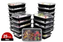 ISO Meal Prep Containers with Lids Certified BPA-Free Stackable Reusable Microwave/Dishwasher/Freezer Safe 16 oz, 25 Count, BLACK