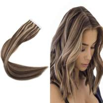 Easyouth 22inch Adhensive Tape in Hair Extensions Color 27 Honey Blonde and 3 Brown Highlighted 40 Pcs 100 Gram Glue in Hair Remy Human Hair Skin Weft Extensions