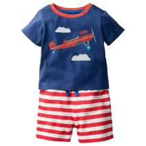 FreeLu Kids Cotton Clothing Sets T-Shirt&Shorts for Girls and Boys 2 Packs 1-7 Toddler