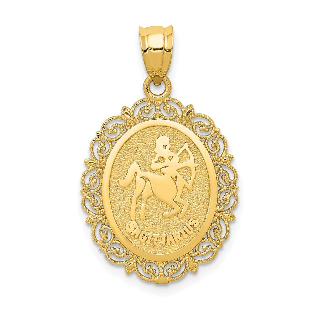 14k Yellow Gold Solid Sagittarius Zodiac Oval Pendant Charm Necklace Sagittariu Fine Jewelry For Women Gifts For Her