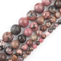 Love Beads 10mm Natural Black Lace Rhodonite Round Stone Beads for Jewelry Making 15inches Beads