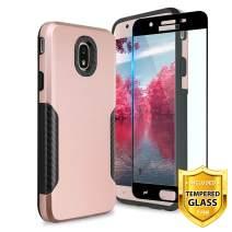 TJS Galaxy J7 2018/J7 Refine/J7 Star/J7 Eon/J7 TOP/J7 Aero/J7 Crown/J7 Aura/J7 V 2nd Gen Case, with [Full Coverage Tempered Glass Screen Protector] Carbon Fiber Shockproof Black Phone Case (Rose Gold)
