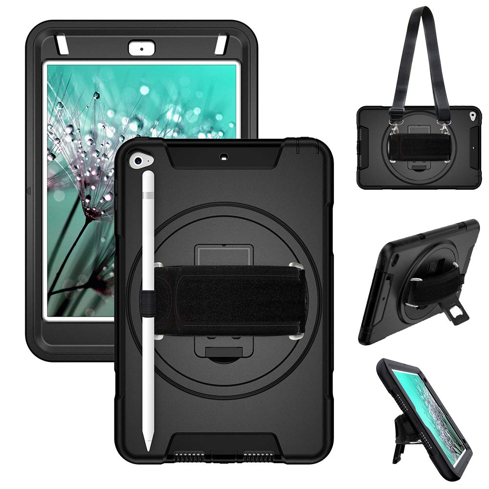 """iPad Mini 5/ Mini 4 Heavy Duty Case 2019,3 Layer Hybrid Drop Protective Case with [360 Degree Hand Strap & Stand] Adjustable Shoulder Strap Pencil Holder for iPad Mini 5th/4th Gen 7.9"""" for Kids Black"""