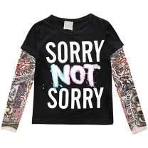 Toddler Kids Little Boys Girls Sunscreen Tattoo Sleeve T Shirt Cotton Tees Tops