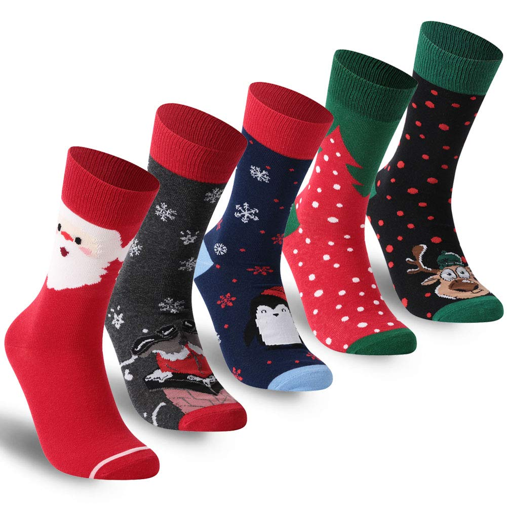 Diwollsam Christmas Socks, 3/4/5/6 Pairs Men's Women's Crazy Ugly Gift Holiday Socks