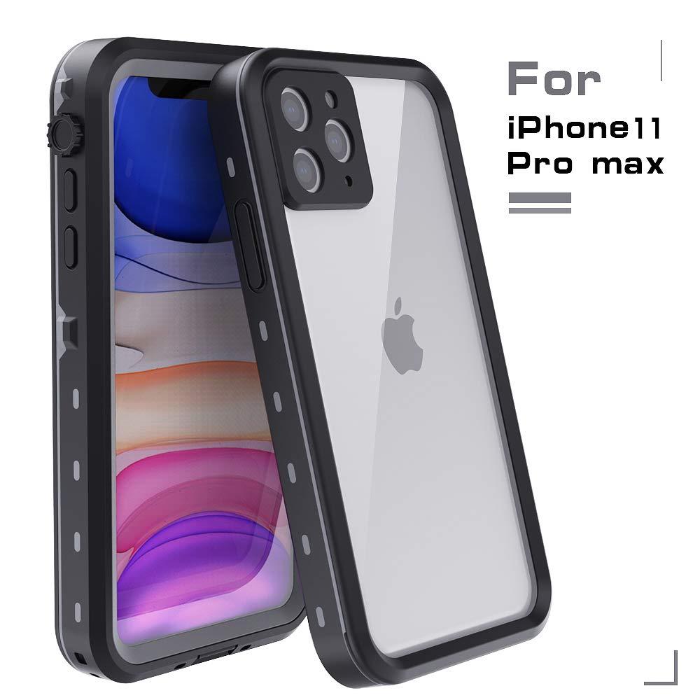 MUZUSUPI iPhone 11 Pro Max Waterproof Case IP68 Full-Body Protect Rugged Slim Crystal Case with Built-in Screen Protector Waterproof Snowproof Shockproof Dirtproof Covers (Black)