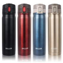 DILLER Vacuum Insulated Water Bottle - 17oz Thermos Coffee Travel Mug, Thermal Drink Flask with Handle Keeps 24 Hours Cold & 12 Hours Hot (Red, 17 oz)