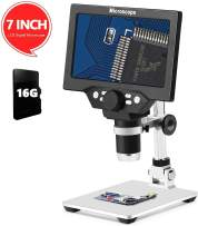 LCD 7 Inch Digital Microscope 1-1200X Maginfication with 16G TF Card,Yvelines 12MP Camera Video Recorder with HD Screen Suitable for Teaching,Circuit Boards,observing Antiques,Jewelry Identification