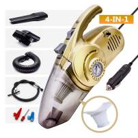 Car Vacuum Cleaner High Power 4-in-1 Portable Auto Corded for Quick Car Cleaning Stronger Suction Portable Air Compressor Tire Inflator Wet Dry Utility LED Light Long Power Cord Washable HEPA Filter