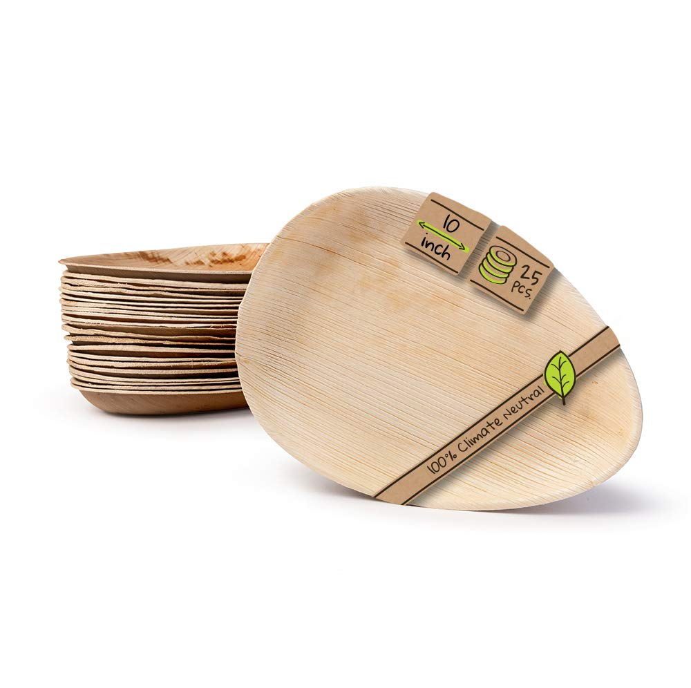 """Naturally Chic Compostable Biodegradable Disposable Plates - Palm Leaf 10"""" Oval Small Dinnerware Set - Eco Friendly Alternative - Party, Wedding, Event Plates (25 Pack)"""