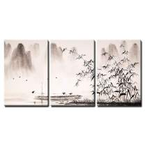 """wall26 - 3 Piece Canvas Wall Art - Chinese Landscape Ink Painting - Modern Home Decor Stretched and Framed Ready to Hang - 24""""x36""""x3 Panels"""