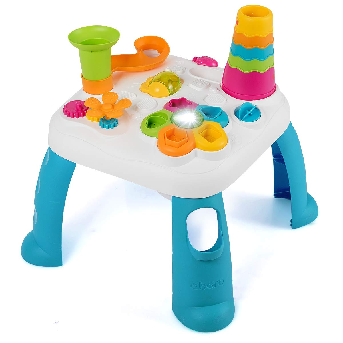Baby Joy Toddler Learning Table, 2 in 1 Sit to Stand Early Education Toy, Convertible Activity Play Game Musical Table w/ Sound, Light, Music Functions, Kids Toddler Birthday Gift (Blue)