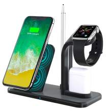YaBland Wireless Charger Stand,Fast 4in1 Qi Charging Station 10W Compatible with Samsung S10/S9, 7.5W 5W for Apple Watch 1-4 AirPods iPhone Xs Max/XR/,Apple Pen Charger Holder, Portable Charger Dock