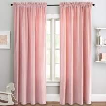 jinchan Pink Curtains Velvet Drapes Bedroom Window Curtains 84 Inch Long Living Room Rod Pocket Window Treatment Set 2 Panels