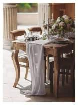 SoarDream 2 Pieces Chiffon Table Runner Gray 27x120 inches Gauze Table Runner Nude Chiffon Silk Table Cloth Romantic Chiffon Table Overlay
