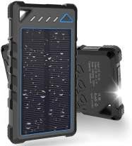 Solar Charger, BEARTWO 10000mAh Upgrade 2020 Solar Phone Charger, Ultra-Compact Portable Charger with Dual USB Backup Battery Pack, Solar Power Bank with Flashlight for Camping, Outdoor Activities
