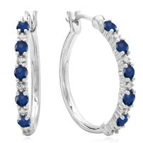 Dazzlingrock Collection Round White Diamond & Gemstone Ladies Fine Dainty Hoop Earrings, Sterling Silver