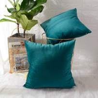 MERNETTE New Year/Christmas Decorations Velvet Soft Decorative Square Throw Pillow Cover Cushion Covers Pillowcase, Home Decor for Party/Xmas 24x24 Inch/60x60 cm, Blue Green, Set of 2