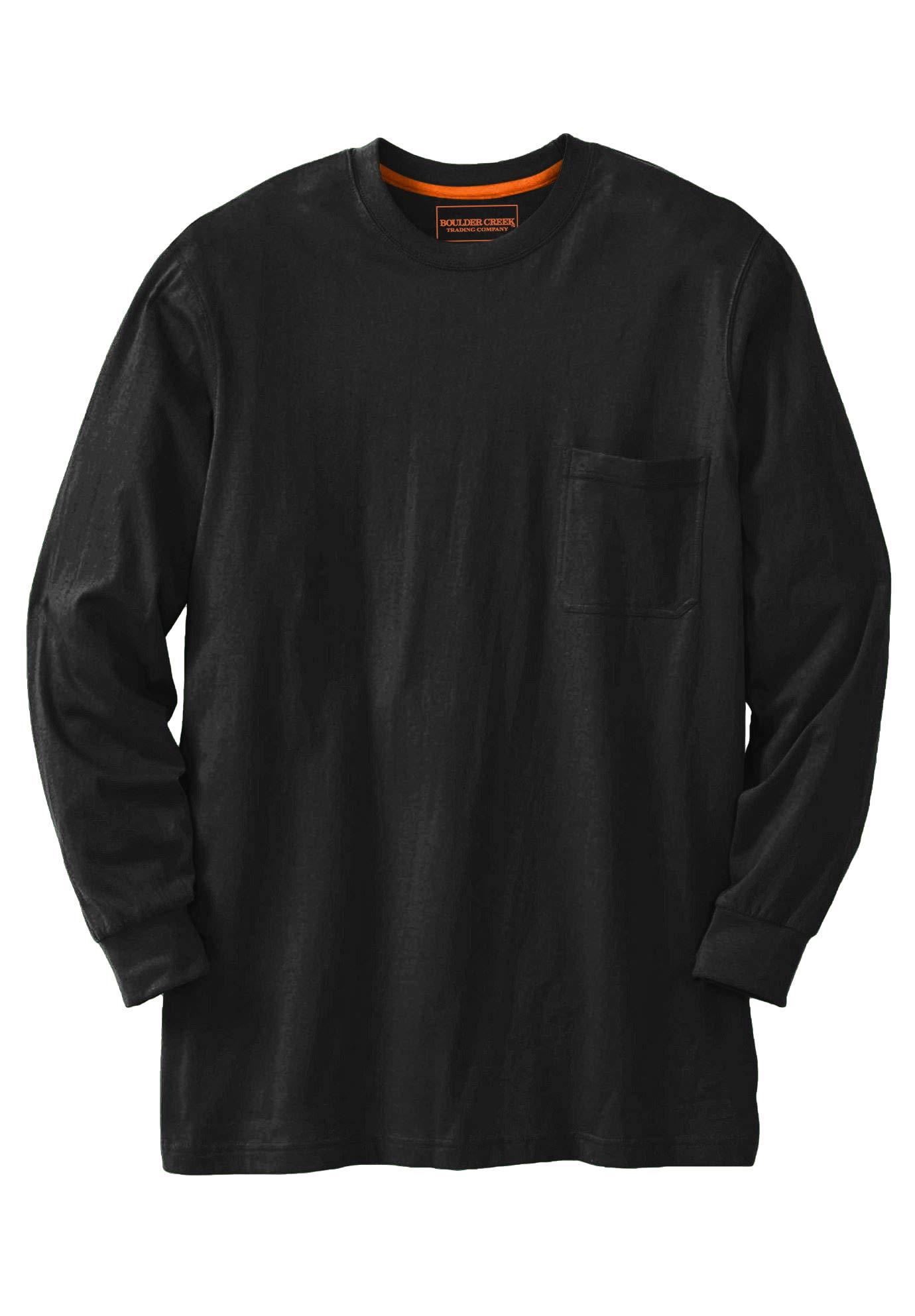 Boulder Creek by Kingsize Men's Big & Tall Heavyweight Crewneck Long-Sleeve Pocket T-Shirt