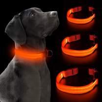 VIZPET LED Dog Collar Safety Adjustable Nylon Pet Collar with Metal Buckle High Visibility at Night Walks for Dogs (Orange, Medium)