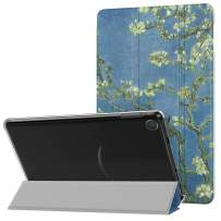 MoKo Case Fits All-New Amazon Kindle Fire 7 Tablet (9th Generation, 2019 Release), PU Leather Trifold Stand Cover Frosted Clear Backshell with Auto Wake/Sleep - Almond Blossom