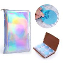 NICOLE DIARY 72 Slots Silver Holographic Nail Plates Holder Case Stamping Templates Organizer Square & Round Printing Molds Collection Manicure Tool Accessories (Silver)