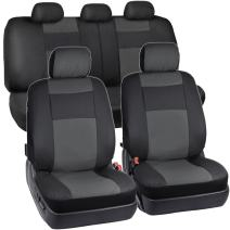 BDK EasyFit Poly-Vinyl Front Seat Covers Full Combo Set (2 Front 1 Rear) – Easy Install Updated Design – Charcoal