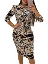 Women Sexy Zipper Front Club Dress Chain Floral Print Stretchy Pencil Bodycon Midi Dresses Gold Chain X-Large