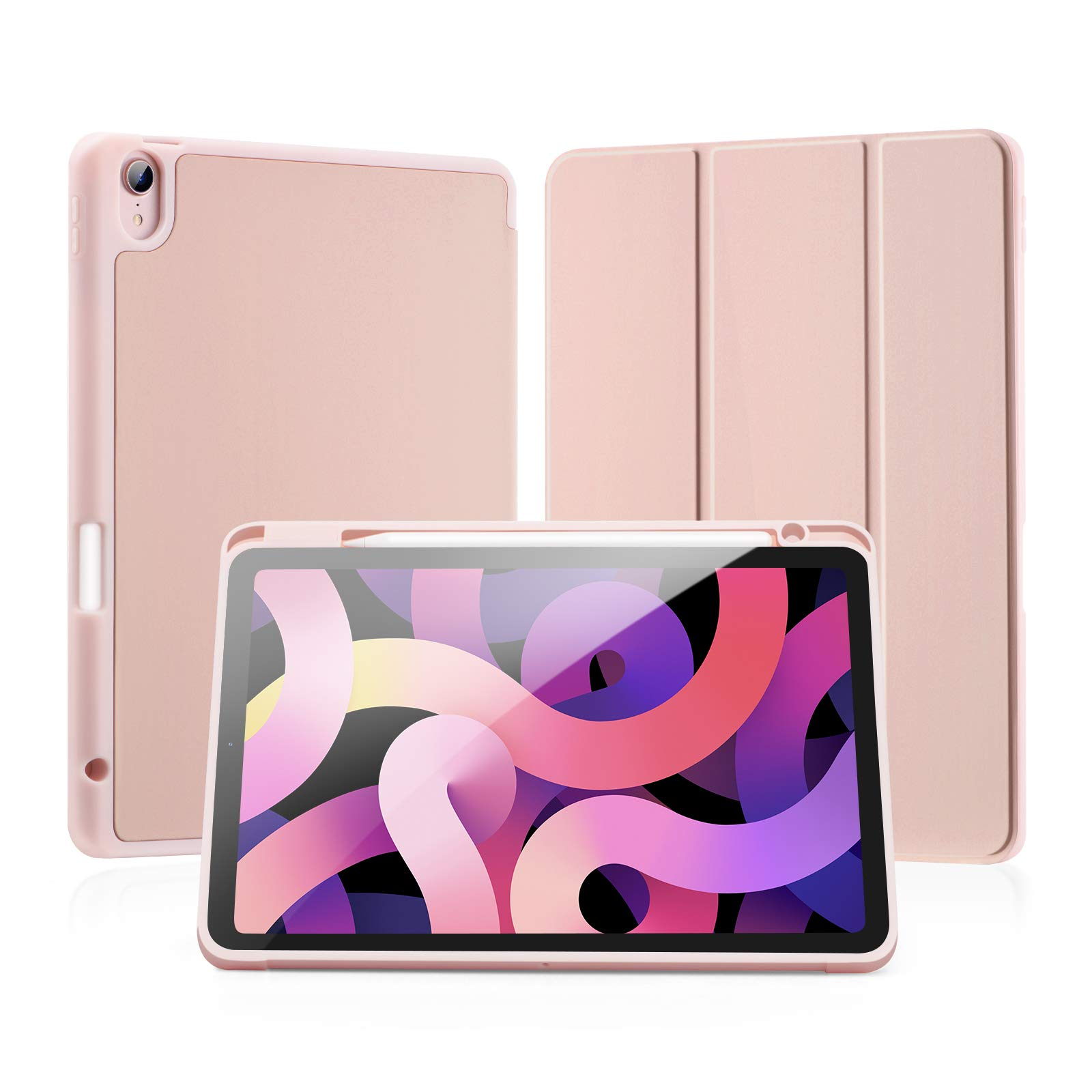 LovRug iPad Air 4 Case 10.9Inch 2020/iPad Air 4th Generation Case with Pencil Holder[Full Body Protection+Apple 2nd Pencil Charging+ Auto Sleep/Wake] Soft TPU Smart Back Cover Case (Rose Gold)
