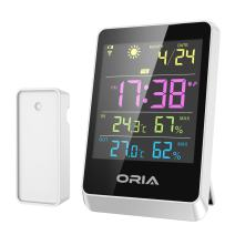 ORIA Weather Station, Wireless Forecast Station, Temperature and Humidity Thermometer, Color Display, Alarm Clock and Large LCD Screen, Time Date for Indoor and Outdoor